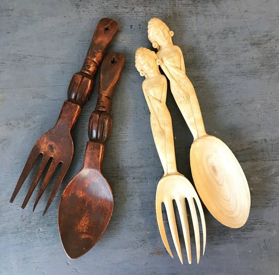 vintage wooden serving utensils - hand carved salad fork spoon - pasta servers - kitchen decor - tropical tiki - Bali Hawaii