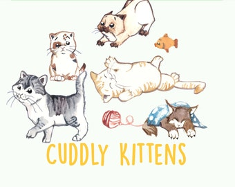 Hand Painted Water Color Clip Art -  Cuddly Kittens - Animal ClipArt, Scrapbooking, Cute Cats