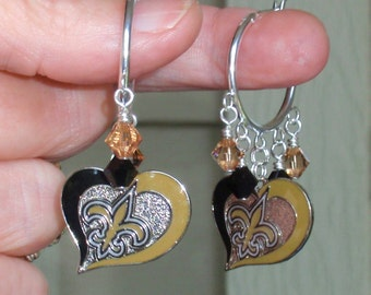 New Orleans Saints Earrings, NO Saints Bling, Black and Gold Crystal Pro Football Earrings, Saints Football Accessory Jewelry