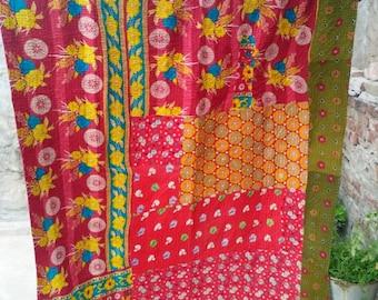Handmade Indian Cotton Kantha Quilt Reversible Throw Bedding Blanket