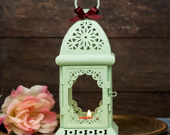 Mint Moroccan Lantern/ Exotic Candle Holder/ Mint Wedding Lantern/ Rustic decor/ Metal Candle Holder Wedding Lighting