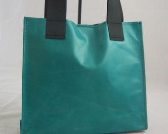 Unlined Leather Shopping Tote - Caribbean Blue