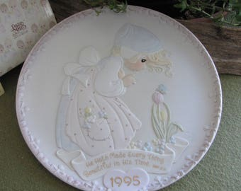 Precious Moments 1995 Mother's Day Annual Plate Series He Hath Made Every Thing Beautiful In His Time Retired Sailboat Symbol #129151
