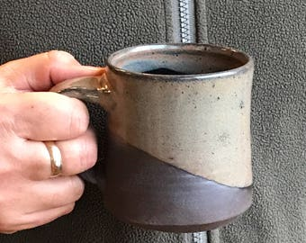 Father's Day Black and Gray Coffee Mug - Tea Mug  Hot Chocolate Mug Pottery Mug Earthy Mug Ceramic Black Mug Pottery Mug Unique Mug