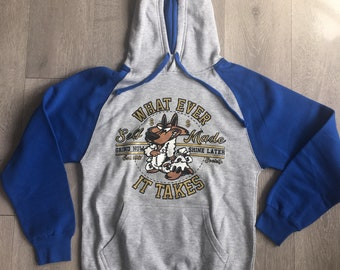 Royal blue/grey wolf in sheeps clothing