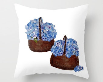 Indoor pillow cover with pillow insert, Indoor Throw Pillow Cover, Cape Cod Hydrangeas in Baskets