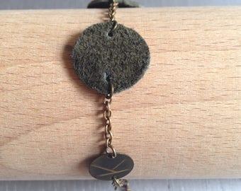 Khaki suede CERKLE bracelet