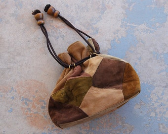 vintage 80s Suede Patchwork Purse - 1980s Boho Hippie Shoulder Bag Bucket Bag