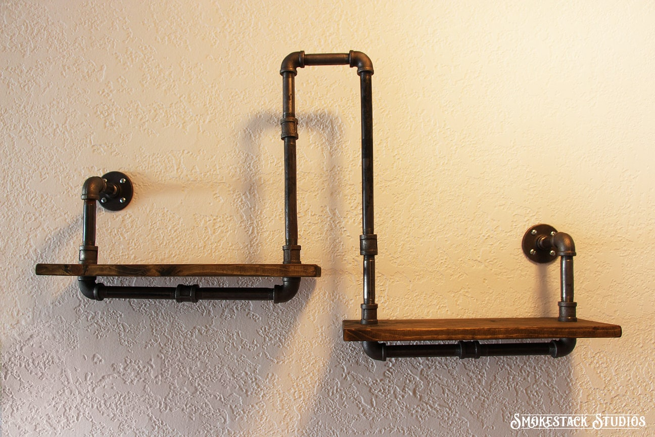 Corner Pipe Shelf Industrial Chic Rustic Modern Pipe