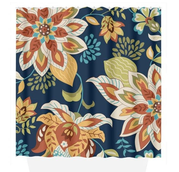 Floral SHOWER CURTAIN Navy Orange Flower Bathroom Custom