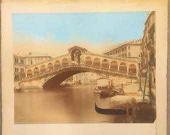 Antique Venice Photograph, Hand Tinted Photo, Ponte di Rialto Venezia, Vintage Venetian Photo