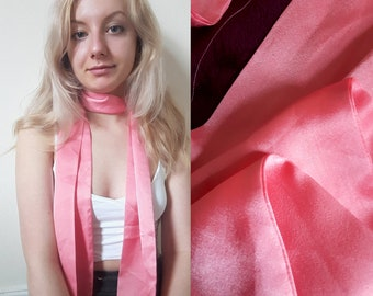 Vintage Silk 1970s Fluorescent Bright Pink Long Scarf Headband