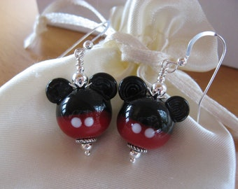 Mickey Mouse Earrings, Disney Earrings, Disney Jewelry, Minnie Mouse Earrings, Disney Cruise, Animal Earrings, Handmade Lampwork Beads, Cute