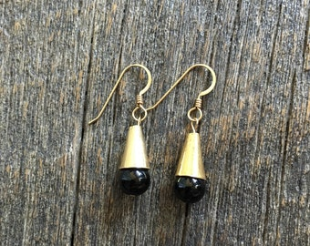 Gold filled cone drop earrings