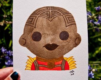 Marvel Black Panther Okoye Dora Milaje Wakanda Avengers Infinity War - Watercolor Hand Illustration Painting - Wall Art Unique Feminist Gift