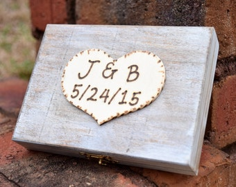 Ring Bearer Box - Shabby Chic Rustic Wedding Decor - Ring Bearer Pillow Alternative - Personalized Ring Box - Distressed Ring Box