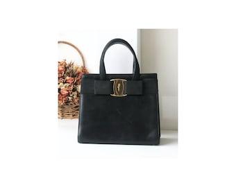 Ferragamo vara black leather vintage tote bag authentic purse