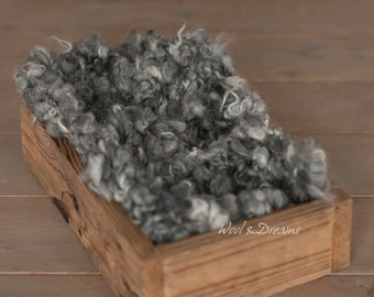 RTS Grey Chunky Rustic Baby Handspun Curly Blanket Photo Prop Newborn