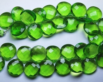 7 Matched Pair, PERIDOT GREEN Quartz Faceted Heart Shape Briolette, Size 14mm