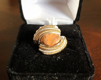 Mexican Fire Opal Wire Wrapped Ring