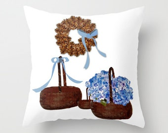 Indoor pillow cover with pillow insert, Indoor Throw Pillow Cover, A Basket of Cape Cod Hydrangeas