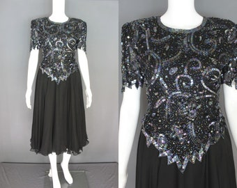 80's Party Dress   80's Black Beaded And Sequined Laurence Kazar Midi Length Party Dress 80's Prom Dress 80's Occasion Dress