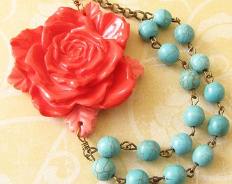 Coral Necklace Turquoise Jewelry Statement Necklace Flower Necklace Beaded Necklace Gift For Her