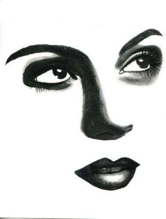 woman face eyes looking up original art black colored pencil drawing black lipstick dark eyes portrait modern beauty makeup artwork
