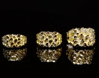 Medium Mens & Women's 10K Yellow SOLID GOLD Nugget Ring - All Ring Sizes Available 5-14