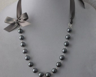 Charcoal Gray Pearl and Charcoal Gray Ribbon Bow Necklace