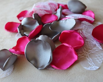Shocking Pink, Dark Grey, and White Lace Flower Petals * Wedding Decor * Baby Shower * Birthday Party * Table Decor