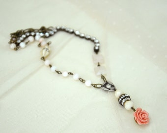 Shabby Chic Necklace / Vintage Religious Old Rosary