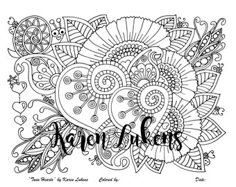 Valentine's - Twin Hearts, 1 Adult Coloring Book Page, Printable Instant Download.