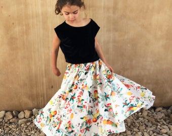 Girls Maxi Skirt, Floral Maxi Skirt For Girls,  Girl Skirt, Girls Full Circle Skirt, Twirling Skirt, Toddler Maxi Skirt, Girls Long Skirt.