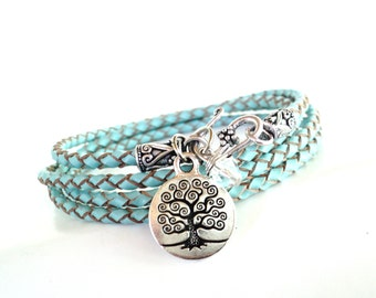 Wrap Bracelet, Braided, Yoga Jewelry, Leather, Tree of Life, Wrist Wrap, Unique Gift For Her, Christmas Gift, Stocking Stuffer, Under 50