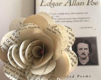 "Edgar Allan Poe Book Page Paper Roses, Dozen, Black Stems, 3.5"""