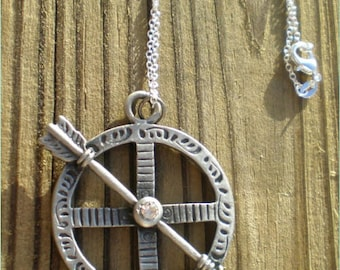 Silver Round Arrow Pendant Necklace,  Jewelry Findings