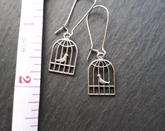 Cute Bird in a Cage Earrings
