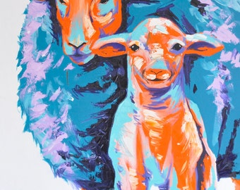 Sheep Painting | Art by Aidan Weichard | Original Painting on Canvas | Abstract Farm Animal Art |  'Shepherds Shadow' 101 x 76cm
