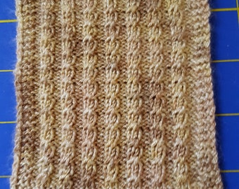 "Dollhouse Miniature Hand Knit Cable Afghan - Tan Bamboo - 3 1/2"" by 4 1/2"""