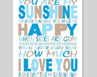 Baby Boy Nursery Decor - You Are My Sunshine - 11x14 Print - Kids Wall Art for Nursery - CHOOSE YOUR COLORS