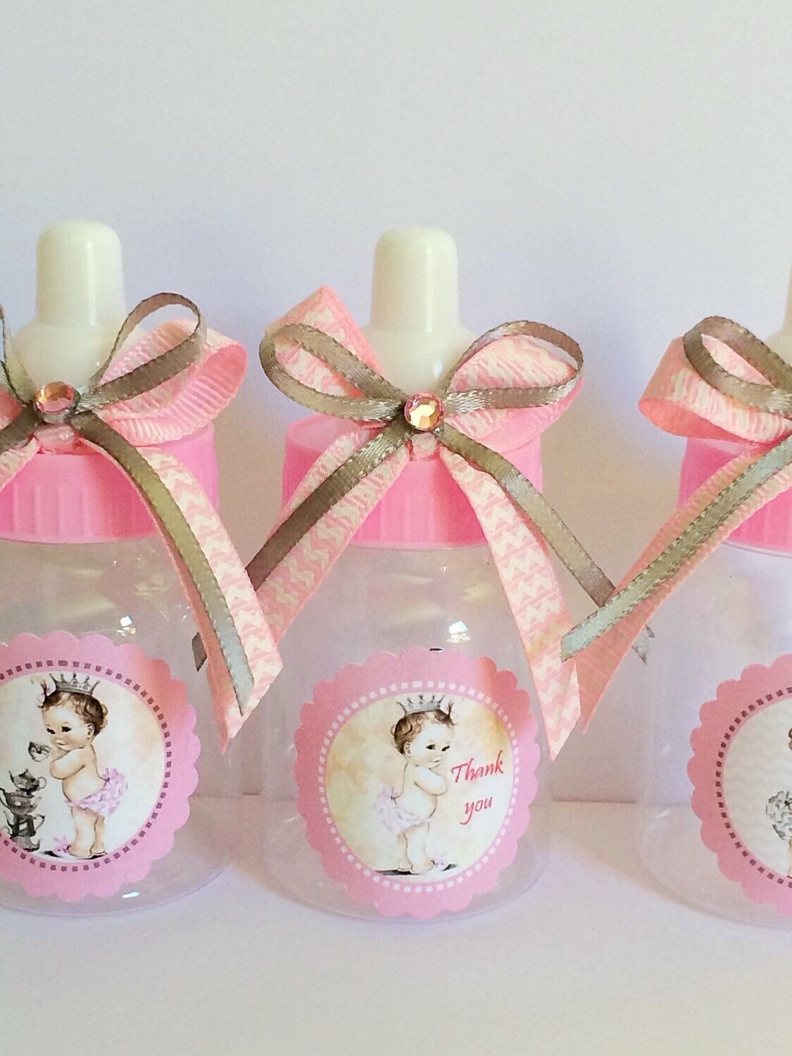 12 small 3.5 Vintage Little princess Baby shower favors