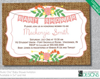 Country Baby Shower Invitation - Digital File