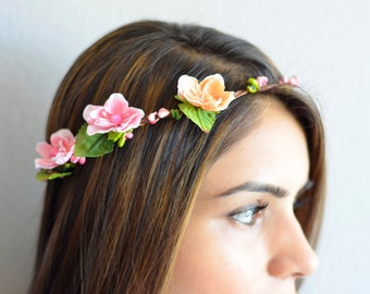 THE CLARA - sale! NEW Bridal Pink Orange Flower Crown Floral Wreath Woodland Rustic Circlet Bride Wedding Romantic Elegant Flower Girl