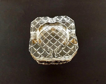 Vintage Crystal Ashtray with Ornate Ormolu Frame, Home Decor, Home Accent, Tobacciana, Decorative Ashtray, Ormolu Decor, Crystal Decor