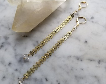 Chevron petal leaf brass chain earrings with herkimer diamonds - extra long