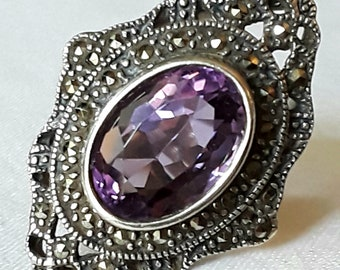 Handcrafted Antique Amethyst and Marcasite Ring in Sterling Silver