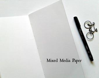 MIXED MEDIA Traveler's Notebook Insert -  Art Paper Insert - Strathmore Mixed Media Paper Vellum Surface - Midori Refill - Art TN - N280