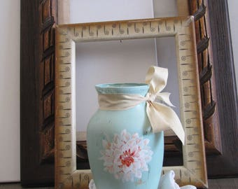 Handpainted Blue Mum Flower Glass Vase