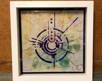 Nazca Analog Mixed Media Collage Shadow Box Wall Art Abstract Crop Circles Architecture Blueprints Framed Collage Repurposed Diagrams